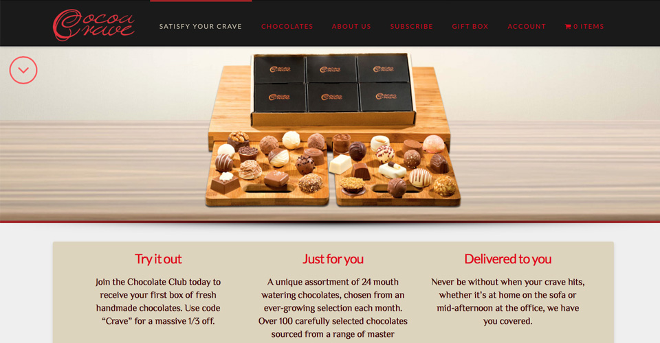 Cocoa Crave luxury chocolates online subscription website