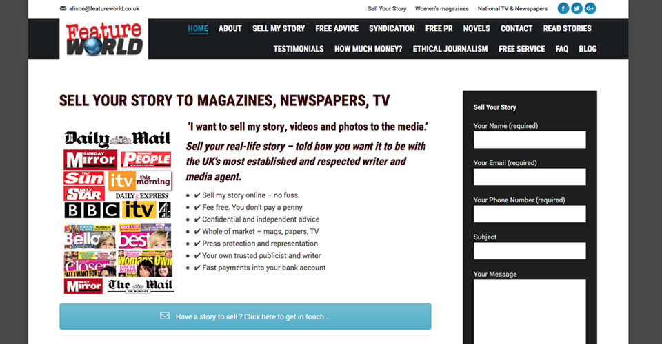 Featureworld / Selling stories to the global media website