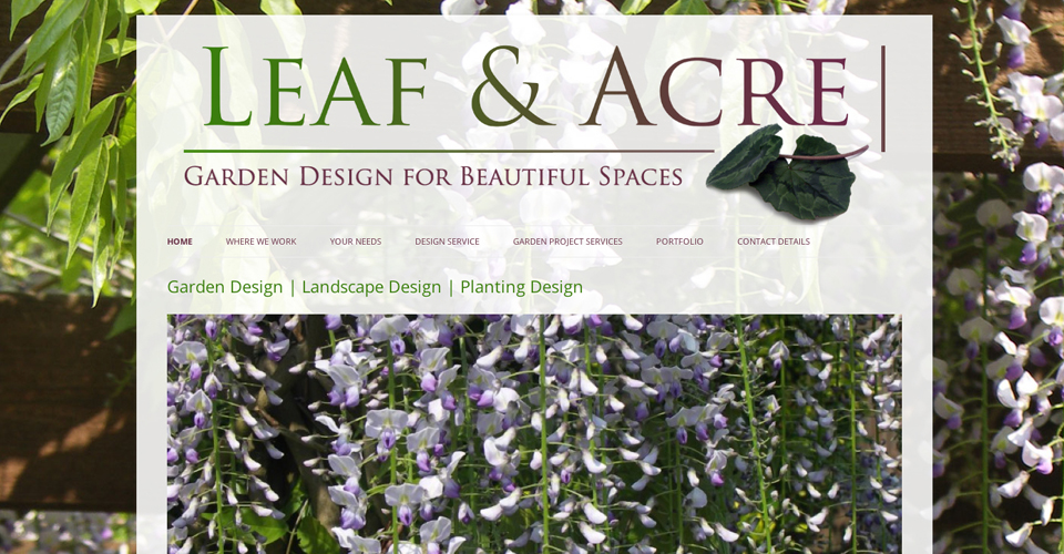 Leaf and Acre Landscape Designers North London website