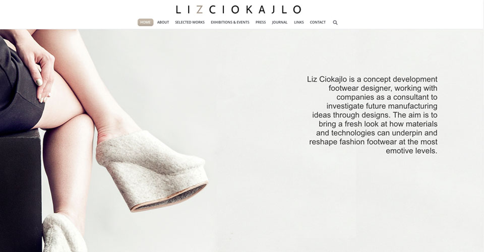 Liz Ciokajlo footwear design portfolio website
